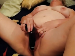 Horny granny pushing her love tunnel with sex tool in front of me