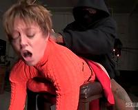 Short haired immodest white slut in the BDSM basement
