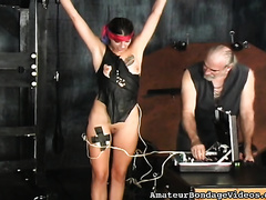 Brunette sweetheart with tattooed boob is bounded to acquire her ass whipped