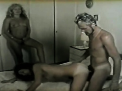 Horny classic golden-haired milf likes watching her white bitch friend fucking