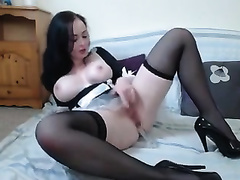 Amateur all alone and super sexually excited brunette in nylon nylons went solo