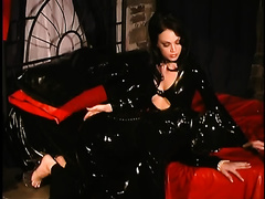 Fetish excited sweetheart in her constricted leather costume is a way also perverted
