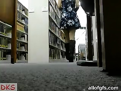 One nasty juvenile blondie receives wild on livecam in library