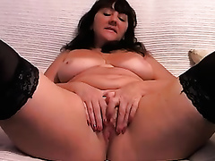 Mature wrinkled whorable black cock slut was teasing her own old muff on cam