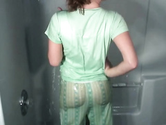 Sassy non-professional brunette hair lady takes shower jerking off her goodies