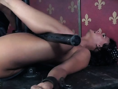 Dirty and impure brunette hair milf restrained and toyed