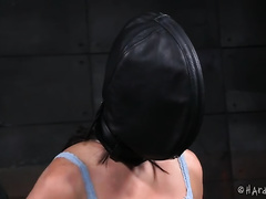 Slim white dark brown has to wear spandex mask and acquires muff teased