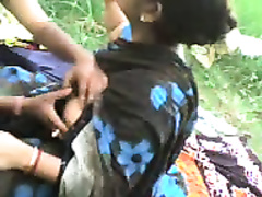 Chubby unattractive Desi MILFie wifey lets her hubby play with scones outdoors