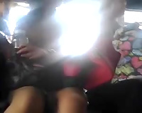 Voyeur non-professional vid of cute slender Asian chick's upskirt in the public bus
