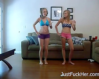 Adorable white college beauties on web camera thinking of striptease
