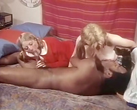 Whorish golden-haired head twin harlots engulf sugary BBC deep mouth