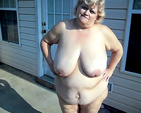 White trash SBBW obese housewife receives stripped at the backyard