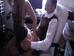 Curvy secretary in horny nylons sucks me off before doggyfuck