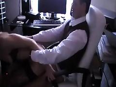 Curvy secretary in horny nylons sucks me off before doggyfuck