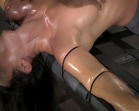 Slender raven haired oiled mother I'd like to fuck receives brutally face hole screwed in BDSM mode