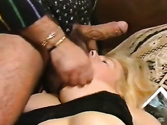 Busty blond sweetheart on the daybed can't live without engulfing shlong untill the end