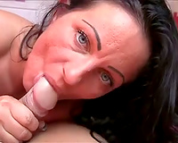 Tattooed black haired girlfriend provided my fat beefy rod with wonderful BJ