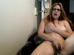 Really voracious dilettante golden-haired haired nympho in glasses masturbates