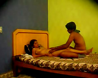 Horny pair teases private parts and bazookas of his dilettante Desi GF