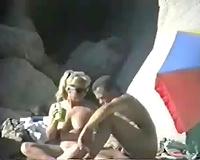 One lewd older pair having hot time on the beach - spy vid