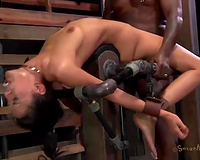 Bent over the metal bars sweetheart has to suck rock hard tools of her masters