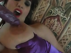 My dark brown wife with large wet melons dildos her snapper
