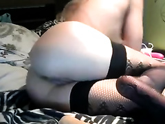 Cute and concupiscent pale auburn playgirl in fishnet nylons masturbated her love tunnel
