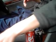 Slutty non-professional dark brown girlfriend flashing breasts in my car