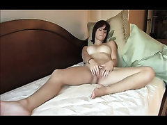 My timid brunette hair husband entertains herself by fingering her twat