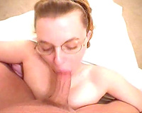 Dirty minded nerdy coworker floozy gives me some head - POV