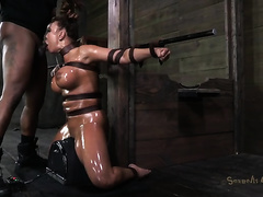 Busty sultry aged white wife Ava Devine tied and willing for BDSM