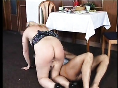 Sensual white bitch enjoys fervid upskirt sex in the dining room