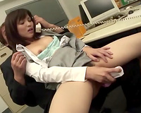 Horny office doxy is engulfing my stiff ramrod for your viewing entertainment