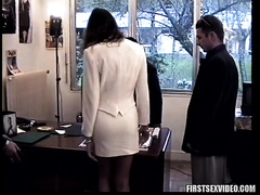 Three males group-sex this hawt brunette hair European girl