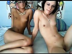 Wondrous nerdy MILFie lesbo eats moist cunt of her GF on web camera