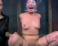 Wicked dominatrix-bitch puts a plastic bag over her slave's head