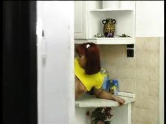 Redhead euro legal age teenager wearing yellow shirt receives nailed