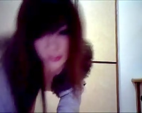 Skinny marvelous Chinese web camera wench receives topless for me