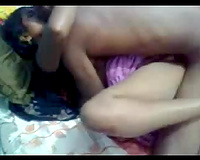 Missionary style romantic sex session of an Indian pair