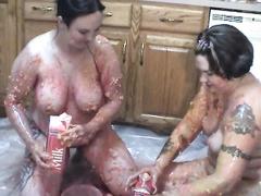Lesbian food fetish time with 2 fat pale skin big beautiful woman honeys