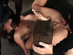 Naughty and wild redhead housewife double teamed by dark and white dudes