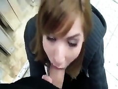 Attractive redhead ally engulfing my dong in a store