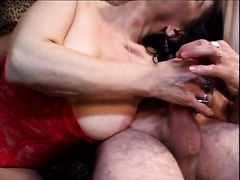 Long-haired milf licks a jock before taking it in her shaggy snatch