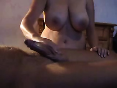 Busty and plump cheating wife giving me cook jerking with massage