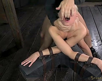 Busty and bootyful golden-haired nympho is thonged and gets her fuckholes nailed