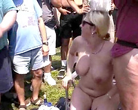 I met this corpulent golden-haired milf with large mambos on the nudist rally