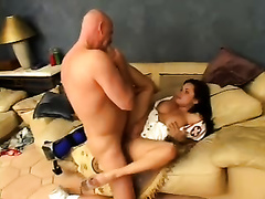 Zesty and perverted brunette hair nurse milf with large boobs blows weenie