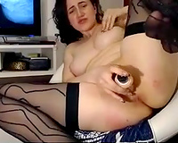 Amazing supple and kinky dark brown nympho fingered herself