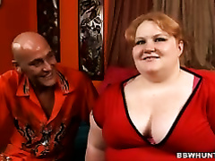 Ugly BBW wench Ruby takes off her garments in advance of giving deepthroat oral job
