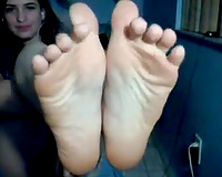 Raven haired ally with bawdy mind shows me her feet